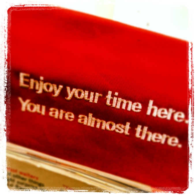 Message on Norwegian Airlines' seat cover